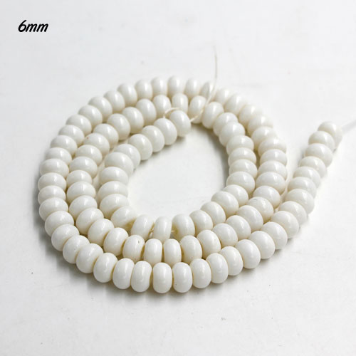 100Pcs 6x3.5mm Smooth Roundel Shape Glass Beads, rondelle glass beads strand, hole 1mm, white