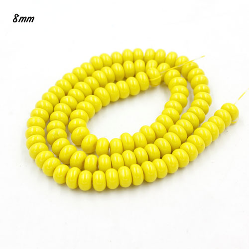 100Pcs 6x3.5mm Smooth Roundel Shape Glass Beads, rondelle glass beads strand, hole 1mm, yellow