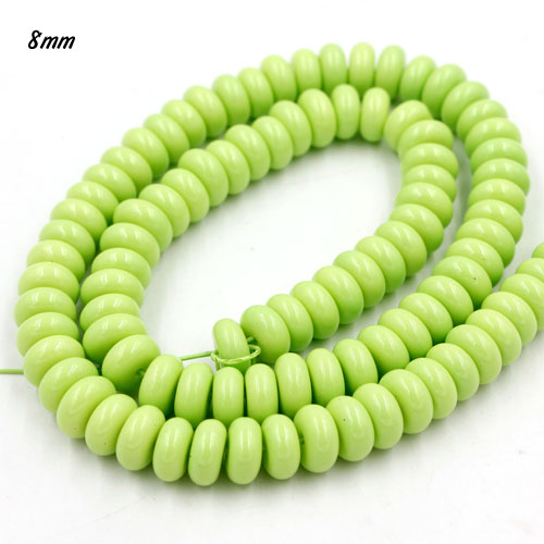 100Pcs 8x4mm Smooth Roundel Shape Glass Beads, rondelle glass beads strand, hole 1mm, Pale Green