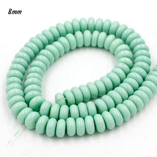 100Pcs 8x4mm Smooth Roundel Shape Glass Beads, rondelle glass beads strand, hole 1mm, Pale Turquois