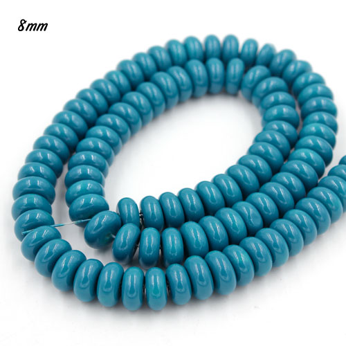 100Pcs 8x4mm Smooth Roundel Shape Glass Beads, rondelle glass beads strand, hole 1mm, med blue