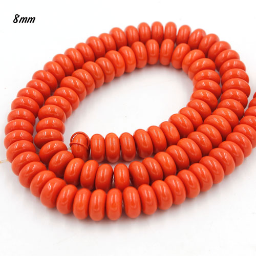 100Pcs 8x4mm Smooth Roundel Shape Glass Beads, rondelle glass beads strand, hole 1mm, orange
