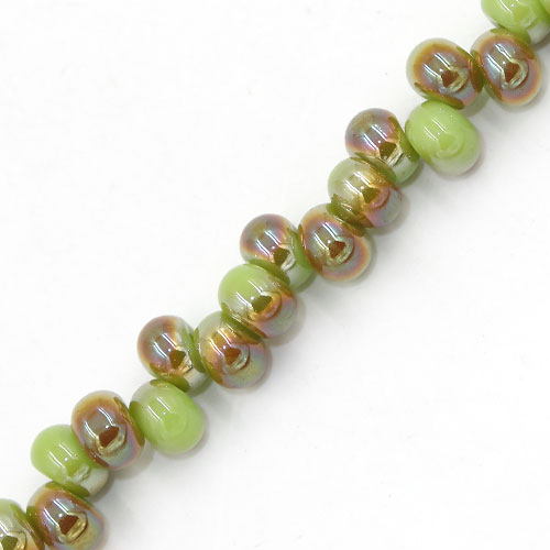 100Pcs 6mm rondelle earring shaped glass beads, hole: 2mm, opaque green
