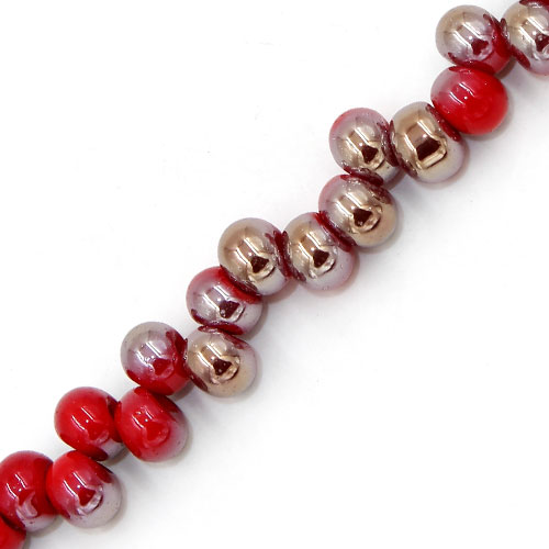 100Pcs 6mm rondelle earring shaped  glass beads, hole: 2mm, opaque red and brown light