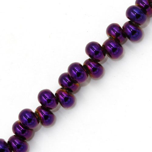 100Pcs 6mm rondelle earring shaped glass beads, hole: 2mm, purple light