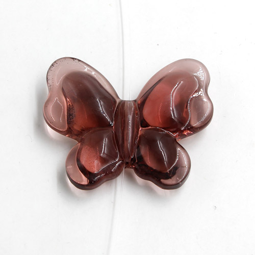 Butterfly glass beads, curtain Bead, 27x33mm, hole: 1.5mm, amethyst, 1pc