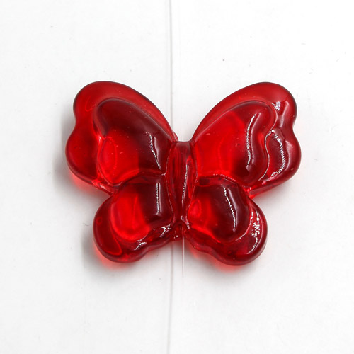 Butterfly glass beads, curtain Bead, 27x33mm, red, hole: 1.5mm, 1pc