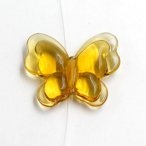 Butterfly glass beads, curtain Bead, 27x33mm, hole: 1.5mm, sun, 1pc
