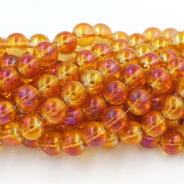 40Pcs 10mm Plating Round Glass Beads, hole 1.5mm, orange light