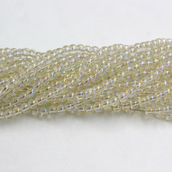 200Pcs 4mm Plating Round Glass Beads, hole 1.5mm, yellow light