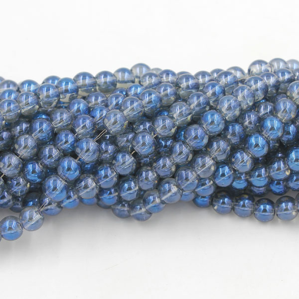 135Pcs 6mm Plating Round Glass Beads, hole 1.5mm, Magic Blue