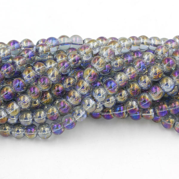 135Pcs 6mm Plating Round Glass Beads, hole 1.5mm, purple light