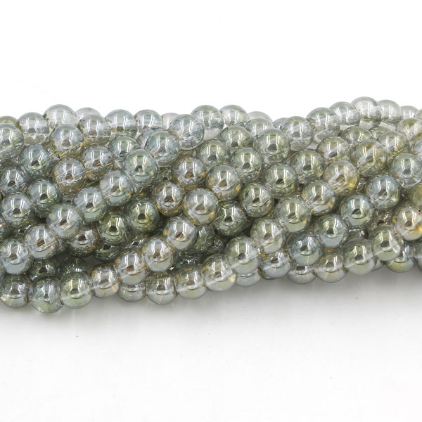 135Pcs 6mm Plating Round Glass Beads, hole 1.5mm, yellow and light