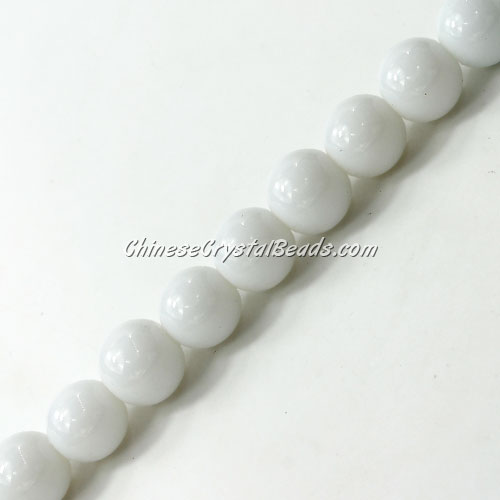 Chinese 10mm Round Glass Beads Opaque white, hole 1mm, about 33pcs per strand