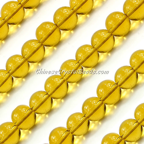 Chinese 10mm Round Glass Beads Amber, hole 1mm, about 33pcs per strand