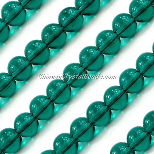 Chinese 10mm Round Glass Beads Emerald, hole 1mm, about 33pcs per strand