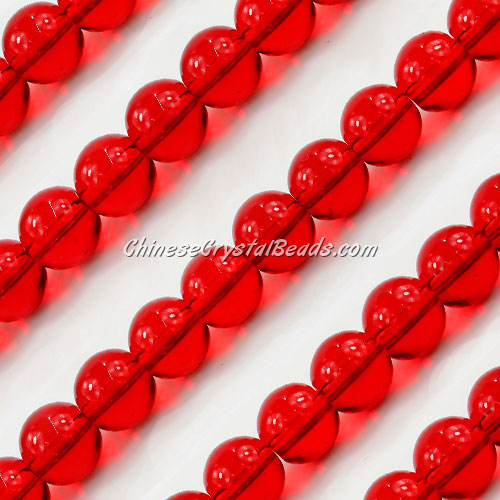 Chinese 10mm Round Glass Beads lt. siam, hole 1mm, about 33pcs per strand