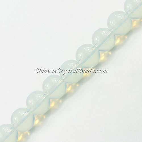 Chinese 10mm Round Glass Beads opal, hole 1mm, about 33pcs per strand