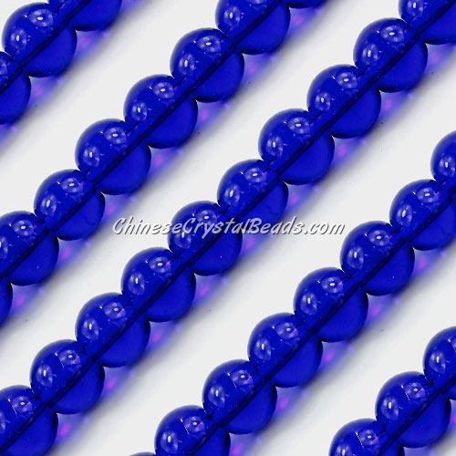 Chinese 10mm Round Glass Beads sapphire, hole 1mm, about 33pcs per strand