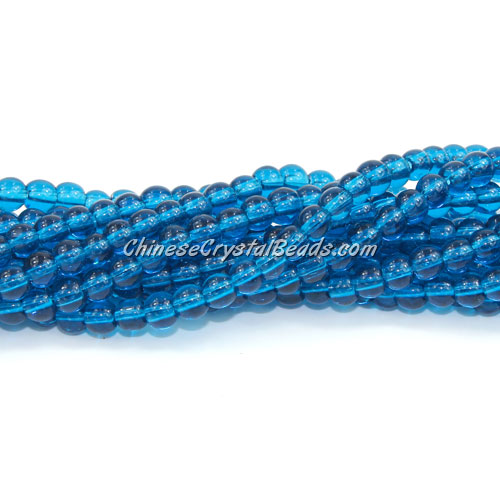 Chinese 4mm Round Glass Beads Blue zircon, hole 1mm, about 80pcs per strand