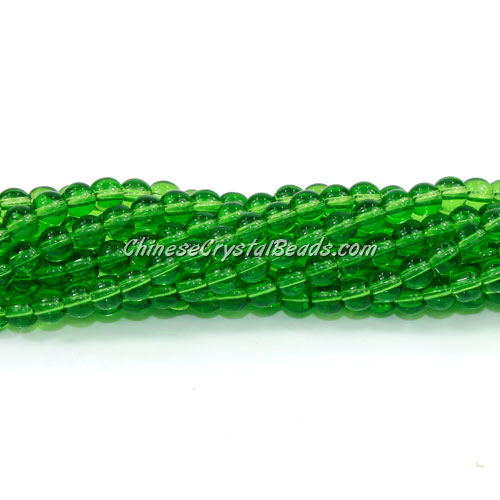 Chinese 4mm Round Glass Beads Fern Green, hole 1mm, about 80pcs per strand