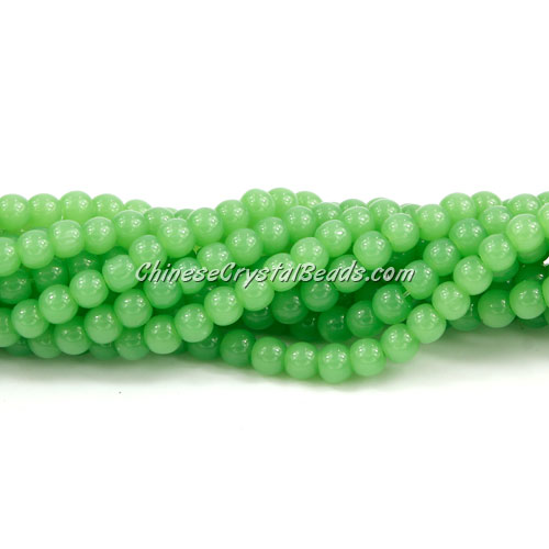Chinese 4mm Round Glass Beads green jade, hole 1mm, about 80pcs per strand