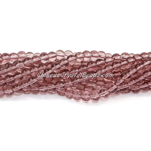 Chinese 4mm Round Glass Beads lt. amethyst, hole 1mm, about 80pcs per strand