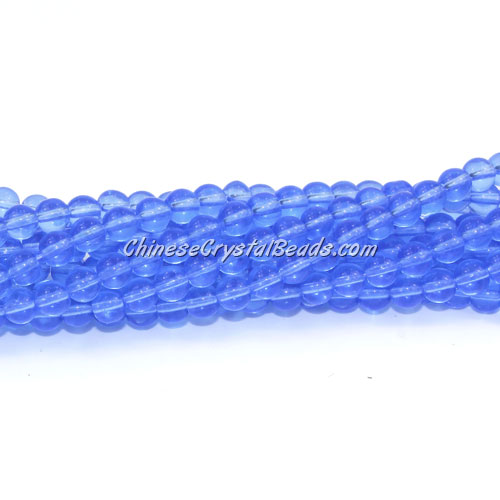 Chinese 4mm Round Glass Beads lt. sapphire, hole 1mm, about 80pcs per strand