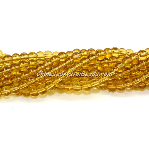 Chinese 4mm Round Glass Beads citrine, hole 1mm, about 80pcs per strand