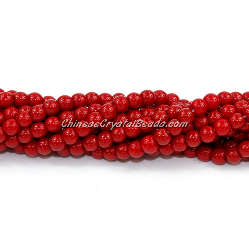Chinese 4mm Round Glass Beads red velvet, hole 1mm, about 80pcs per strand