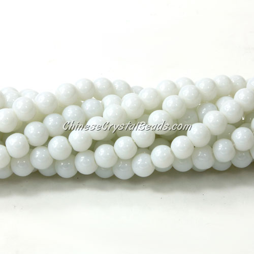 Chinese 6mm Round Glass Beads Opaque white, hole 1mm, about 54pcs per strand