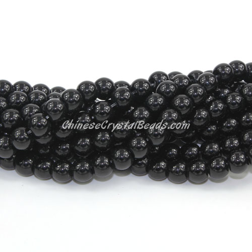 Chinese 6mm Round Glass Beads Black, hole 1mm, about 54pcs per strand