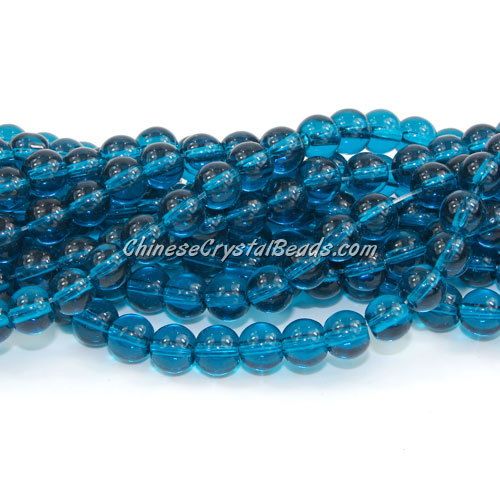 Chinese 6mm Round Glass Beads Blue zircon, hole 1mm, about 54pcs per strand
