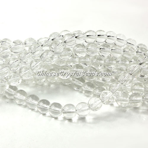 Chinese 6mm Round Glass Beads Clear, hole 1mm, about 54pcs per strand