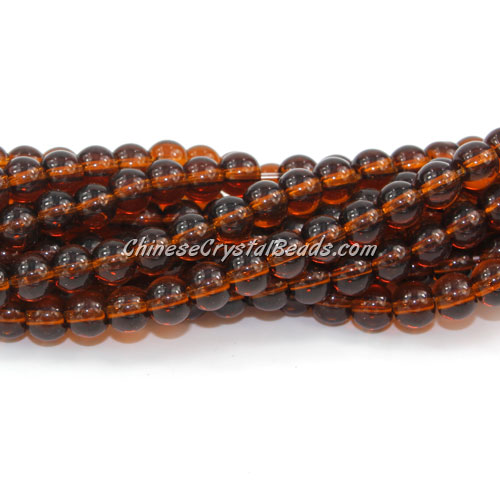 Chinese 6mm Round Glass Beads Dark Amber, hole 1mm, about 54pcs per strand