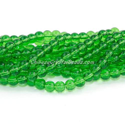 Chinese 6mm Round Glass Beads Fern Green, hole 1mm, about 54pcs per strand