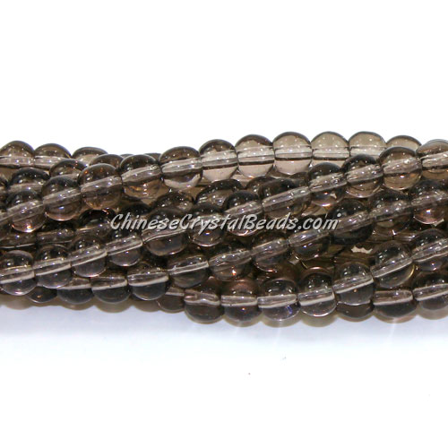 Chinese 6mm Round Glass Beads gray, hole 1mm, about 54pcs per strand