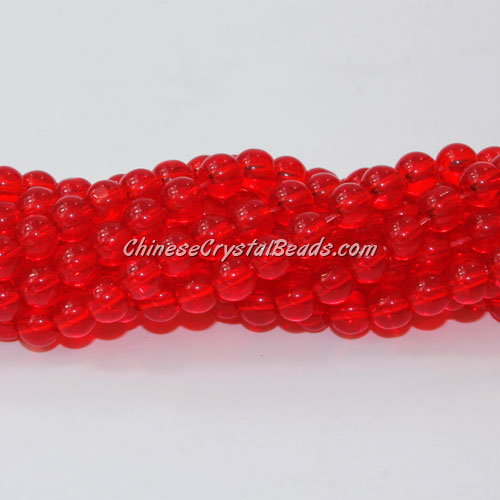 Chinese 6mm Round Glass Beads lt. siam, hole 1mm, about 54pcs per strand