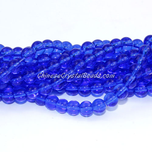 Chinese 6mm Round Glass Beads med sapphire, hole 1mm, about 54pcs per strand