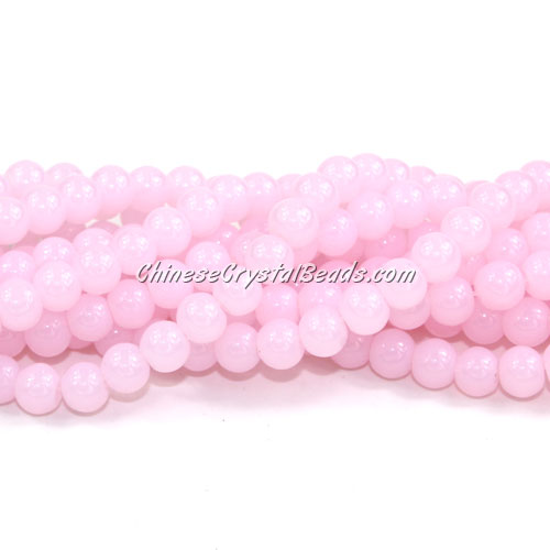 Chinese 6mm Round Glass Beads light pink jade, hole 1mm, about 54pcs per strand