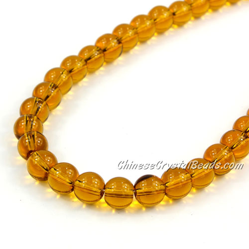 Chinese 8mm Round Glass Beads Amber, hole 1mm, about 42pcs per strand