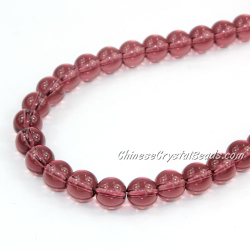 Chinese 8mm Round Glass Beads Amethyst, hole 1mm, about 42pcs per strand