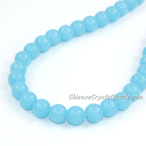 Chinese 8mm Round Glass Beads aqua jade, hole 1mm, about 42pcs per strand