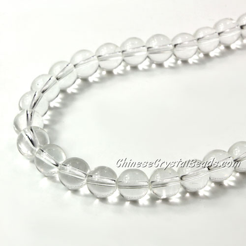 Chinese 8mm Round Glass Beads Clear, hole 1mm, about 42pcs per strand
