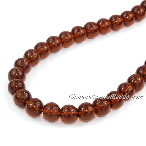 Chinese 8mm Round Glass Beads Dark Amber, hole 1mm, about 42pcs per strand