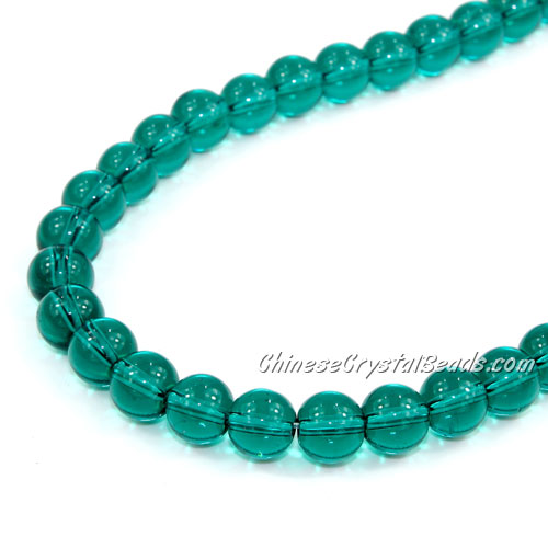Chinese 8mm Round Glass Beads Emerald, hole 1mm, about 42pcs per strand