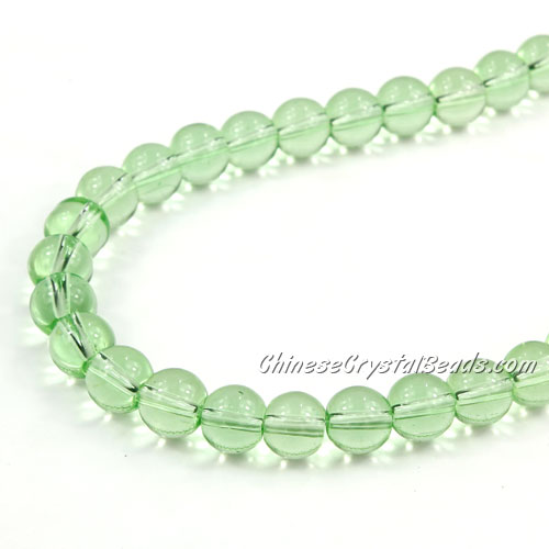 Chinese 8mm Round Glass Beads lime green, hole 1mm, about 42pcs per strand