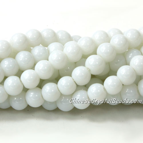 Chinese 8mm Round Glass Beads Opaque white, hole 1mm, about 42pcs per strand
