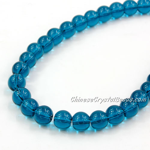 Chinese 8mm Round Glass Beads Blue zircon, hole 1mm, about 42pcs per strand