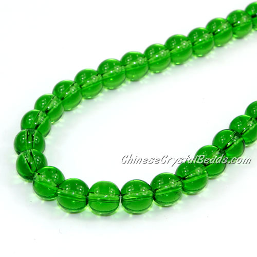 Chinese 8mm Round Glass Beads Fern Green, hole 1mm, about 42pcs per strand